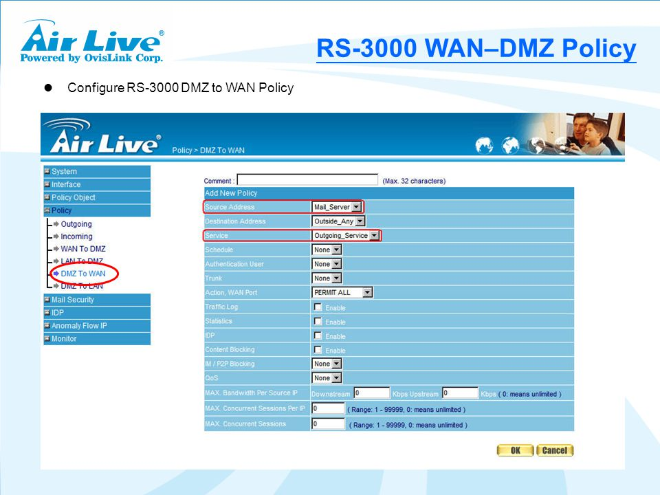 Configure RS-3000 DMZ to WAN Policy RS-3000 WAN–DMZ Policy
