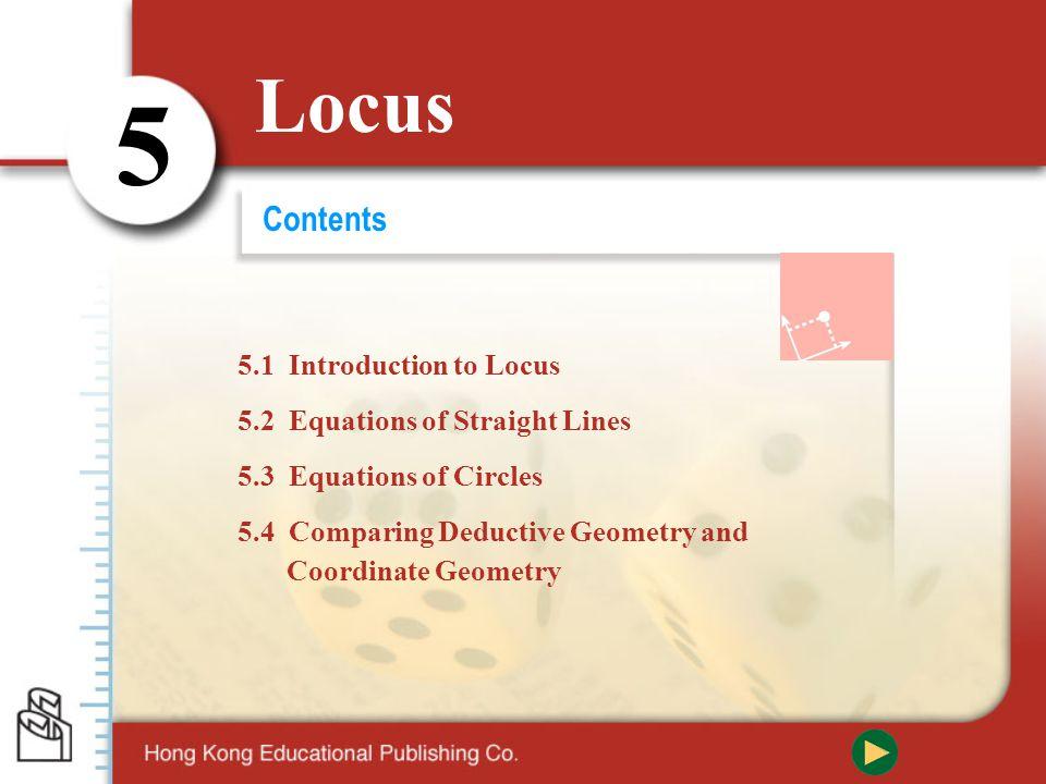 Locus 5 Content P.11 5.3 Equations of Circles A.