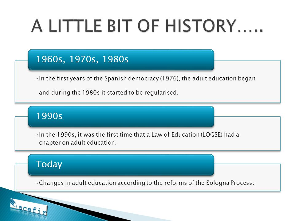 In the first years of the Spanish democracy (1976), the adult education began and during the 1980s it started to be regularised. 1960s, 1970s, 1980s I