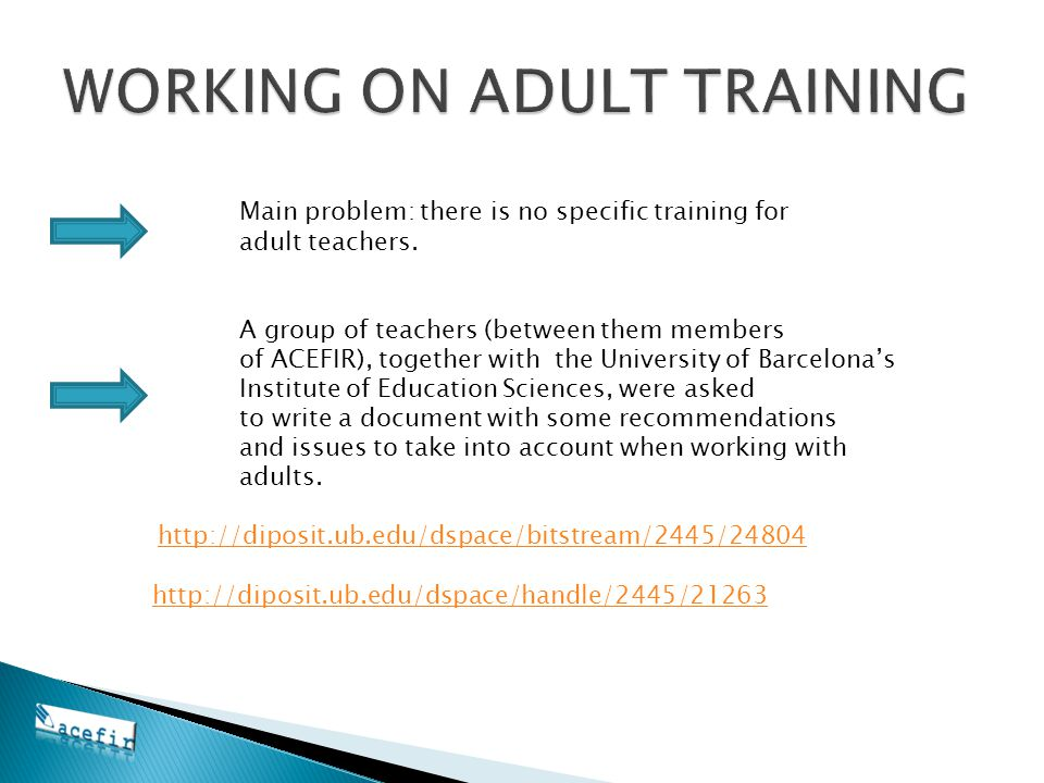 Main problem: there is no specific training for adult teachers.