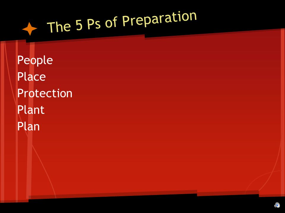 The 5 Ps of Preparation People Place Protection Plant Plan