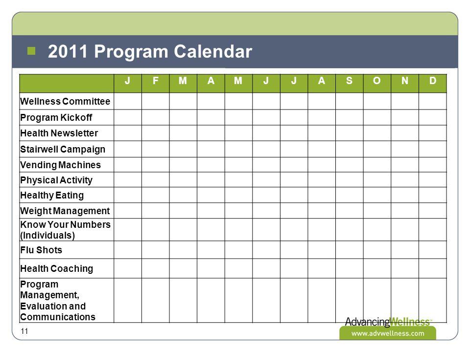 2011 Program Calendar 11 JFMAMJJASOND Wellness Committee Program Kickoff Health Newsletter Stairwell Campaign Vending Machines Physical Activity Healt
