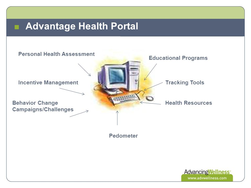 Advantage Health Portal Personal Health Assessment Incentive Management Behavior Change Campaigns/Challenges Pedometer Health Resources Tracking Tools