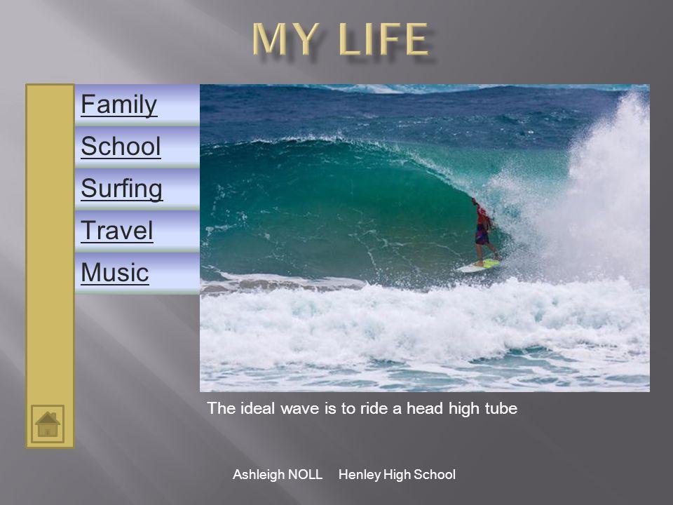 School Family Music Surfing Travel Ashleigh NOLL Henley High School Teaching International students is great fun