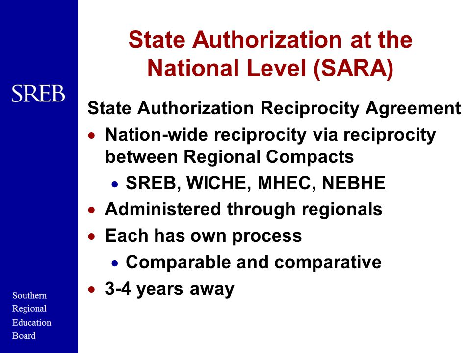 State Authorization at the National Level (SARA) State Authorization Reciprocity Agreement  Nation-wide reciprocity via reciprocity between Regional Compacts  SREB, WICHE, MHEC, NEBHE  Administered through regionals  Each has own process  Comparable and comparative  3-4 years away