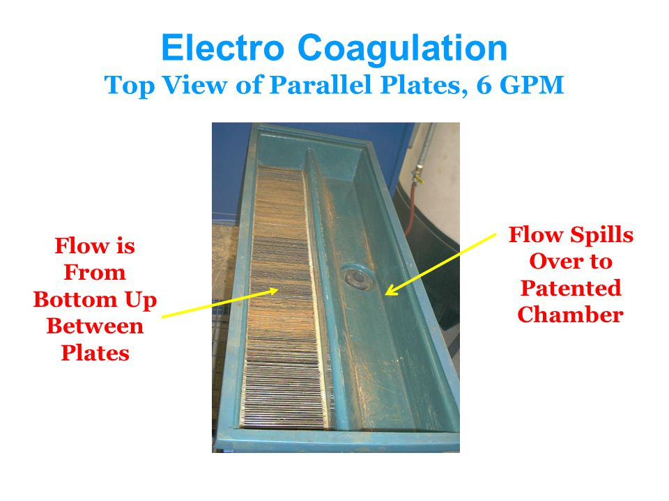 Electro Coagulation Top View of Parallel Plates, 6 GPM Flow Spills Over to Patented Chamber Flow is From Bottom Up Between Plates