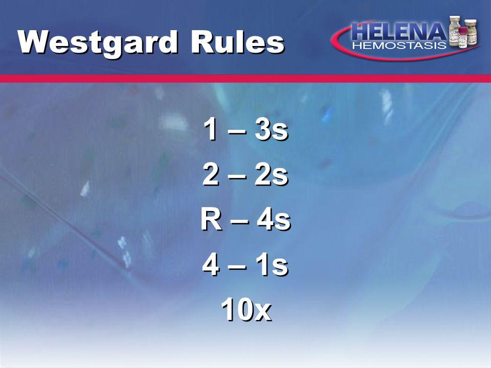 Westgard Rules 1 – 3s 2 – 2s R – 4s 4 – 1s 10x 1 – 3s 2 – 2s R – 4s 4 – 1s 10x