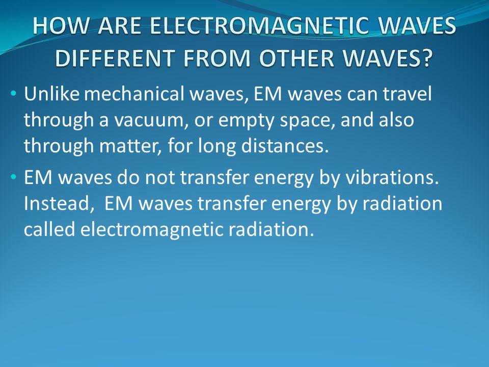 EM waves do not transfer energy by vibrations. Instead, EM waves transfer energy by radiation called electromagnetic radiation.