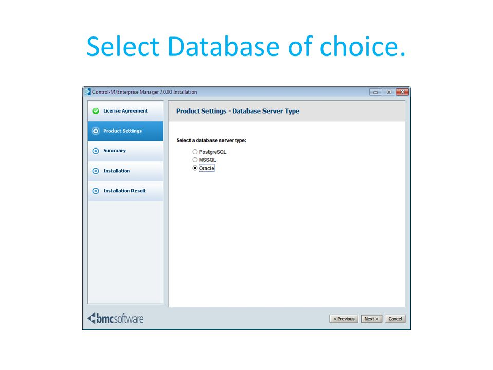 Select Database of choice.