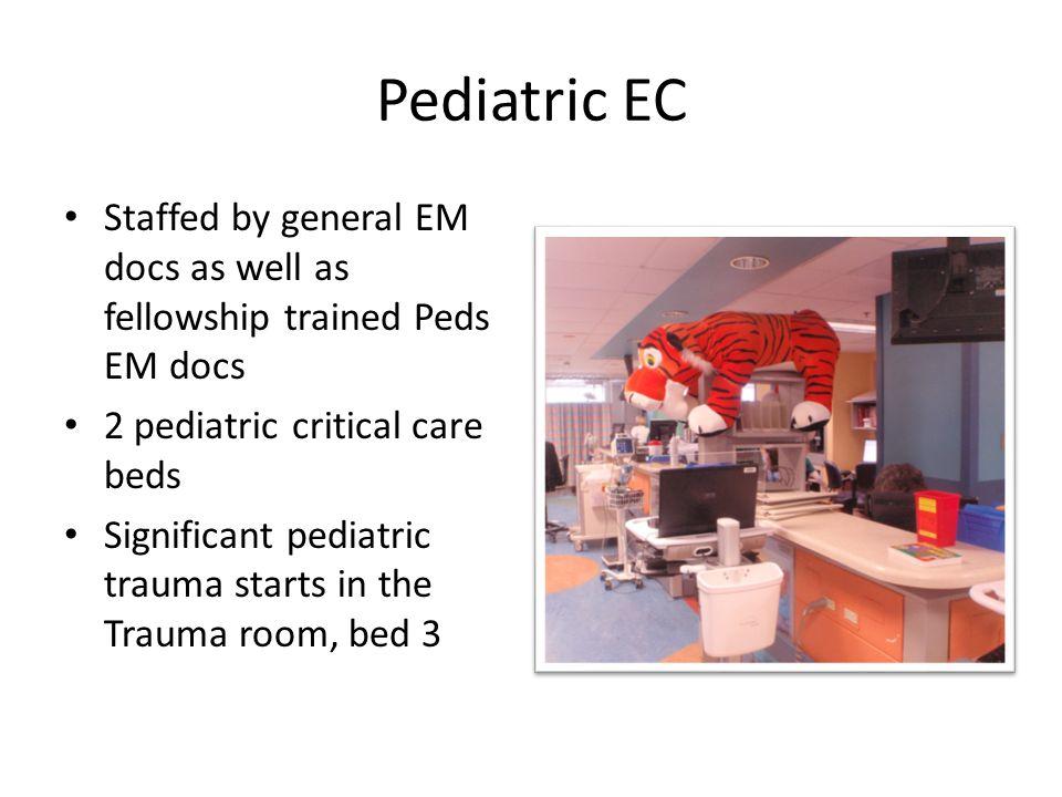 Pediatric EC Staffed by general EM docs as well as fellowship trained Peds EM docs 2 pediatric critical care beds Significant pediatric trauma starts
