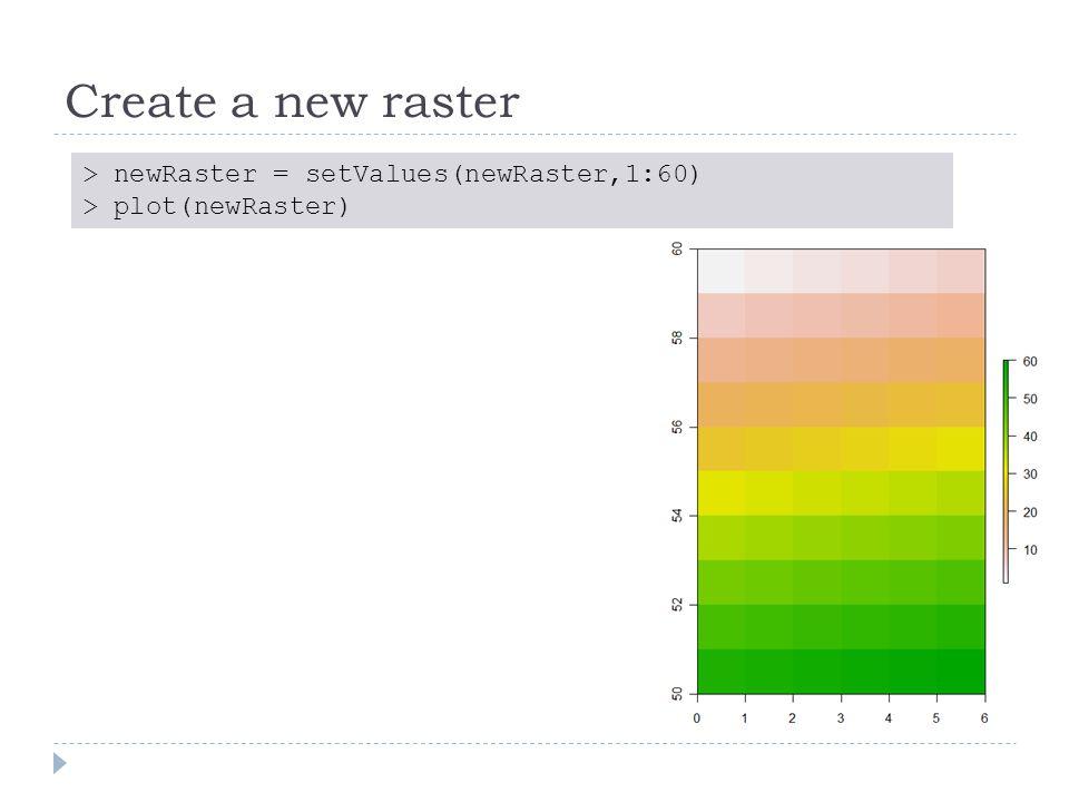 Create a new raster > newRaster = setValues(newRaster,1:60) > plot(newRaster)