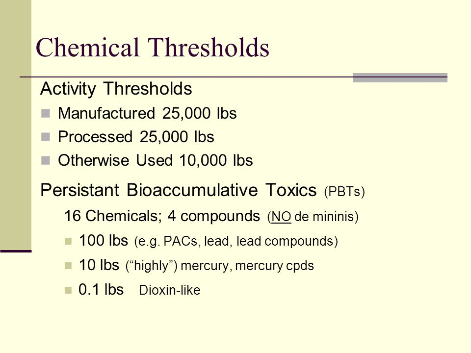 Chemical Thresholds Activity Thresholds Manufactured 25,000 lbs Processed 25,000 lbs Otherwise Used 10,000 lbs Persistant Bioaccumulative Toxics (PBTs