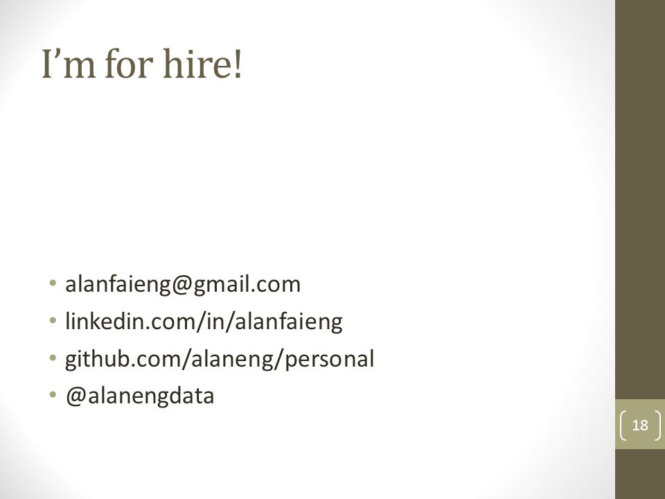 I'm for hire.