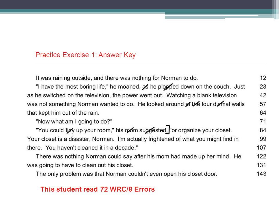 This student read 72 WRC/8 Errors Practice Exercise 1: Answer Key