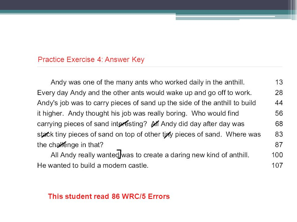 This student read 86 WRC/5 Errors Practice Exercise 4: Answer Key