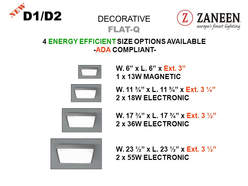 DECORATIVE FLAT-Q 4 ENERGY EFFICIENT SIZE OPTIONS AVAILABLE -ADA COMPLIANT- W.