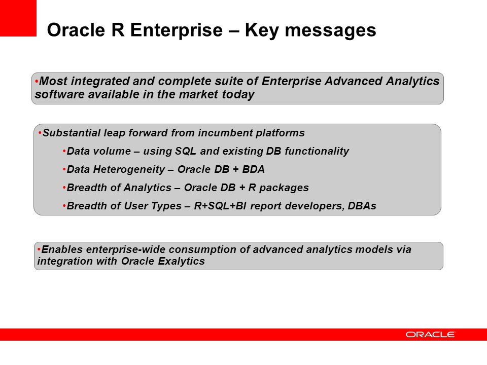 Substantial leap forward from incumbent platforms Data volume – using SQL and existing DB functionality Data Heterogeneity – Oracle DB + BDA Breadth o