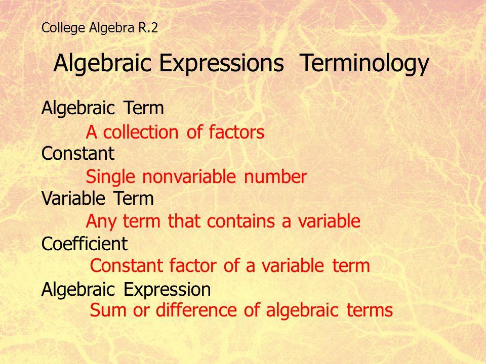College Algebra R.2 Algebraic Expressions Terminology Algebraic Term Constant Variable Term Coefficient Algebraic Expression A collection of factors S