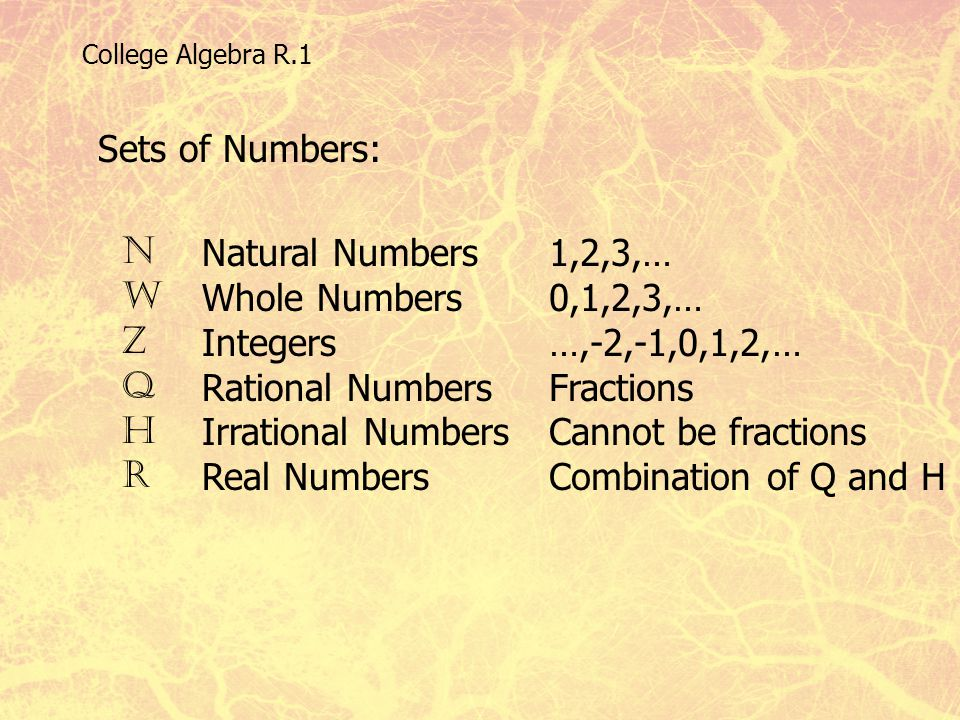 College Algebra R.1 Sets of Numbers: N W Z Q H R Natural Numbers Whole Numbers Integers Rational Numbers Irrational Numbers Real Numbers 1,2,3,… 0,1,2