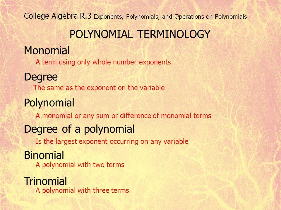 Monomials And Polynomials Algebra Monomial Degree Polynomial