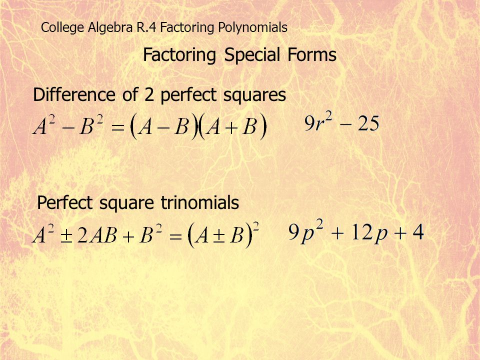 College Algebra R.4 Factoring Polynomials Factoring Special Forms Difference of 2 perfect squares Perfect square trinomials