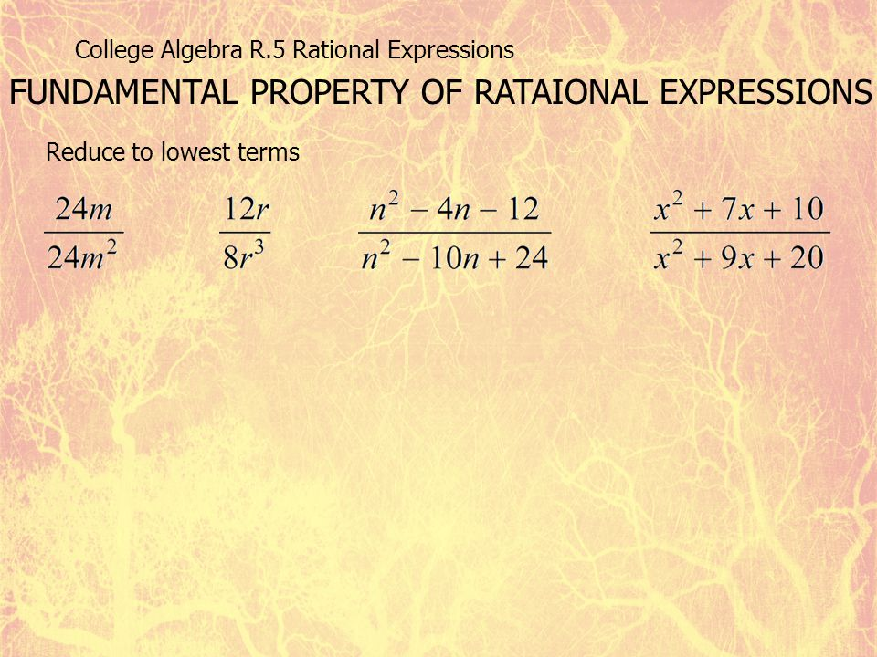 College Algebra R.5 Rational Expressions FUNDAMENTAL PROPERTY OF RATAIONAL EXPRESSIONS Reduce to lowest terms