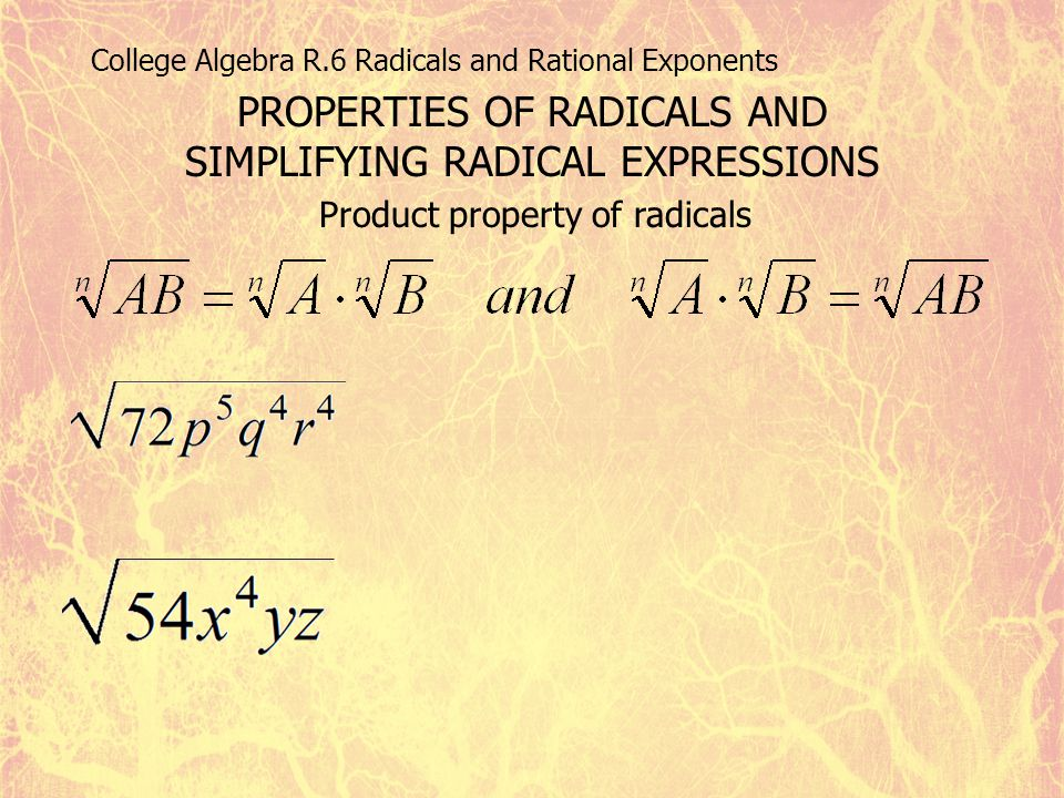 College Algebra R.6 Radicals and Rational Exponents PROPERTIES OF RADICALS AND SIMPLIFYING RADICAL EXPRESSIONS Product property of radicals