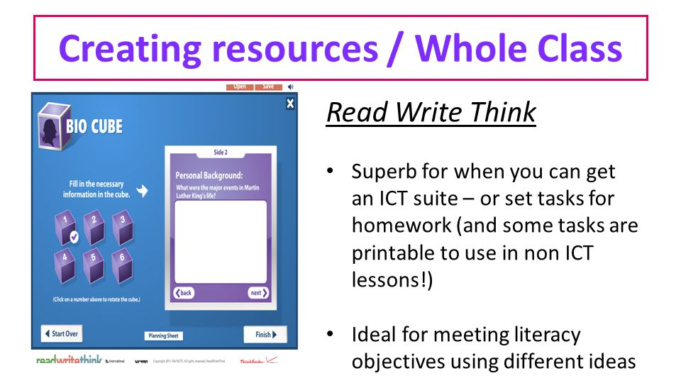Creating resources / Whole Class Read Write Think Superb for when you can get an ICT suite – or set tasks for homework (and some tasks are printable t