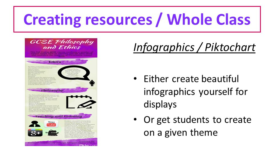Creating resources / Whole Class Infographics / Piktochart Either create beautiful infographics yourself for displays Or get students to create on a given theme