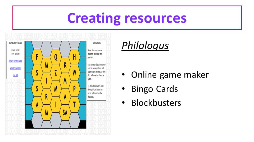 Creating resources Philologus Online game maker Bingo Cards Blockbusters