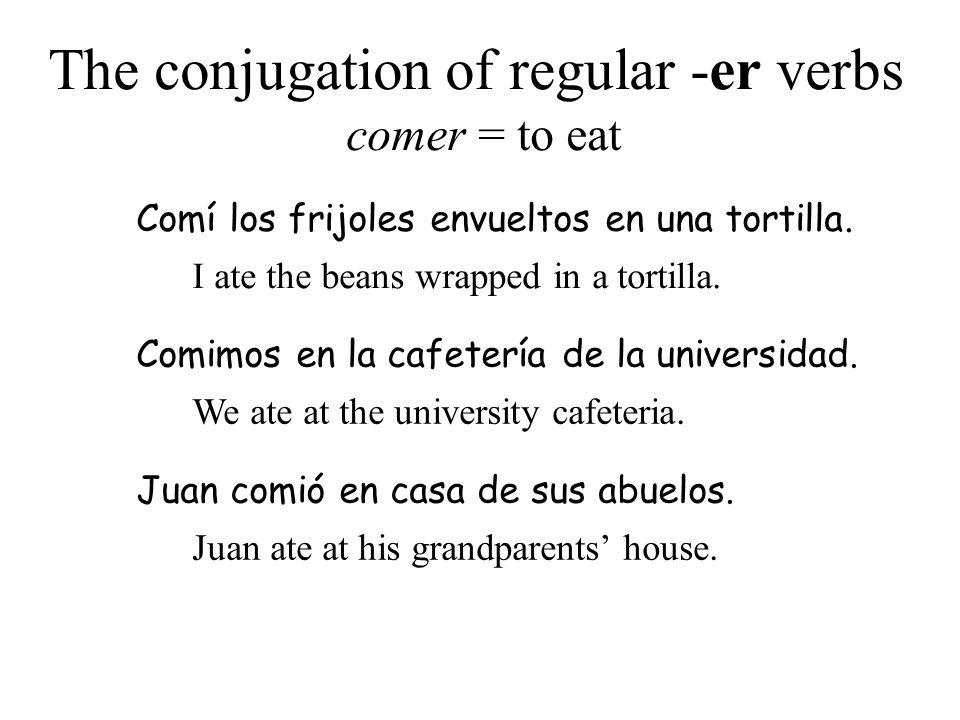 The conjugation of regular -er verbs comer = to eat Comí los frijoles envueltos en una tortilla. I ate the beans wrapped in a tortilla. Comimos en la