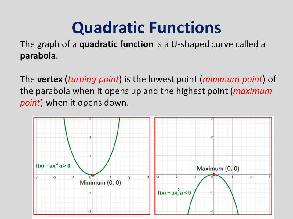 Quadratic Functions The graph of a quadratic function is a U-shaped curve called a parabola. The vertex (turning point) is the lowest point (minimum p
