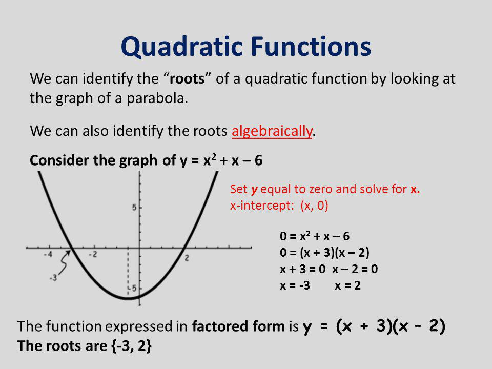 """Quadratic Functions We can identify the """"roots"""" of a quadratic function by looking at the graph of a parabola. We can also identify the roots algebrai"""