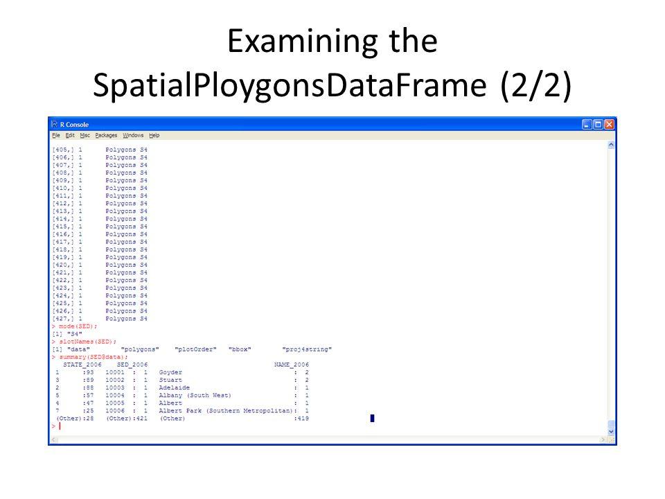 Examining the SpatialPloygonsDataFrame (2/2)