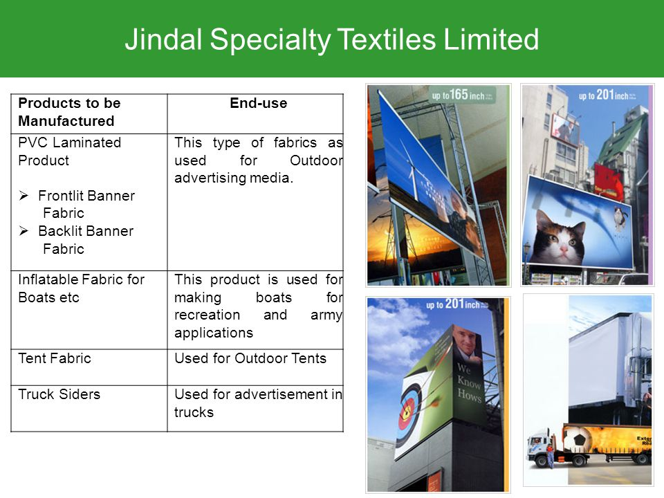 Jindal Specialty Textiles Limited Products to be Manufactured End-use PVC Laminated Product  Frontlit Banner Fabric  Backlit Banner Fabric This type