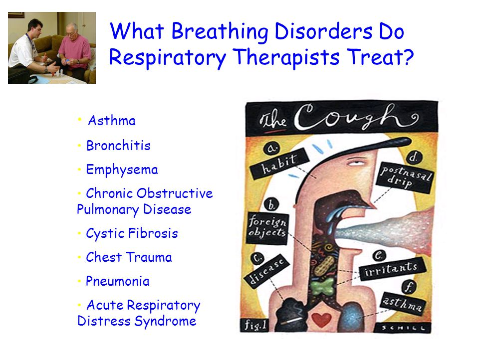 What Breathing Disorders Do Respiratory Therapists Treat? Asthma Bronchitis Emphysema Chronic Obstructive Pulmonary Disease Cystic Fibrosis Chest Trau