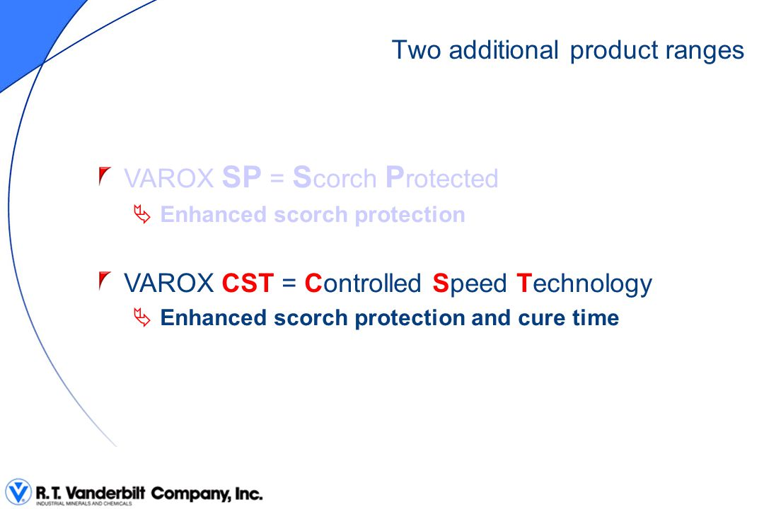 Two additional product ranges VAROX SP = S corch P rotected  Enhanced scorch protection VAROX CST = Controlled Speed Technology  Enhanced scorch pro