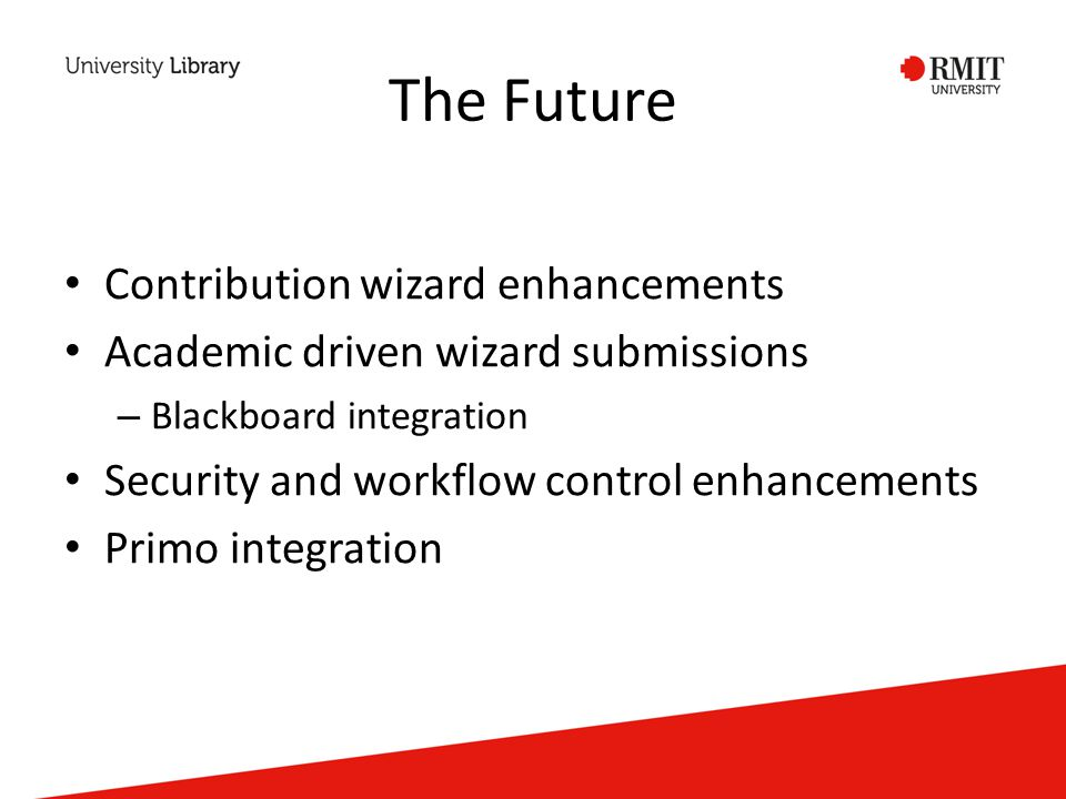 The Future Contribution wizard enhancements Academic driven wizard submissions – Blackboard integration Security and workflow control enhancements Primo integration