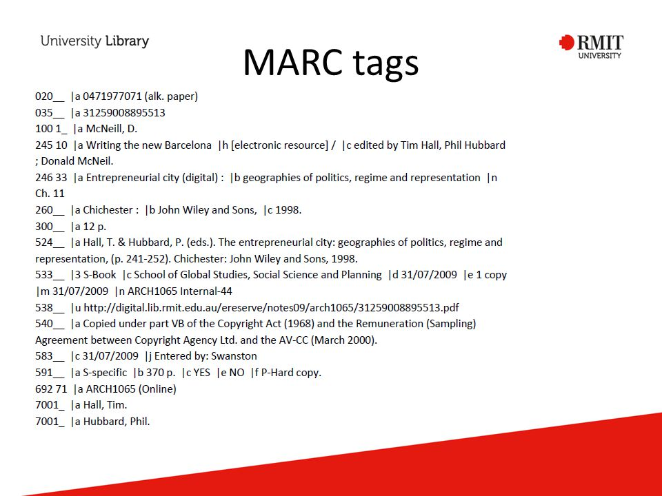 MARC tags
