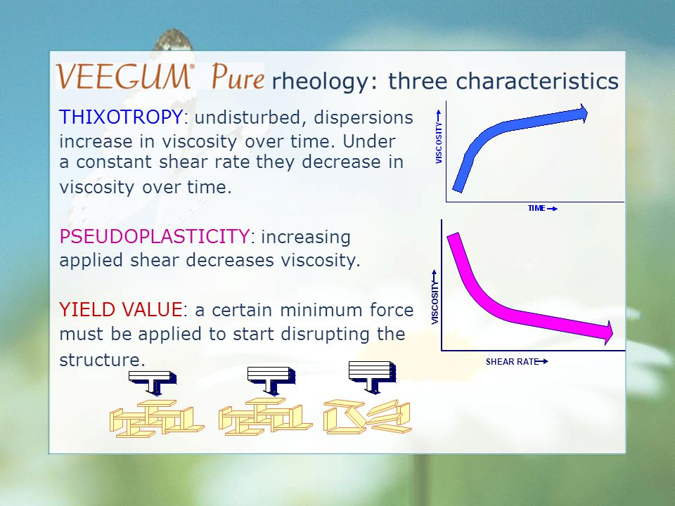 THIXOTROPY : undisturbed, dispersions increase in viscosity over time. Under a constant shear rate they decrease in viscosity over time. PSEUDOPLASTIC