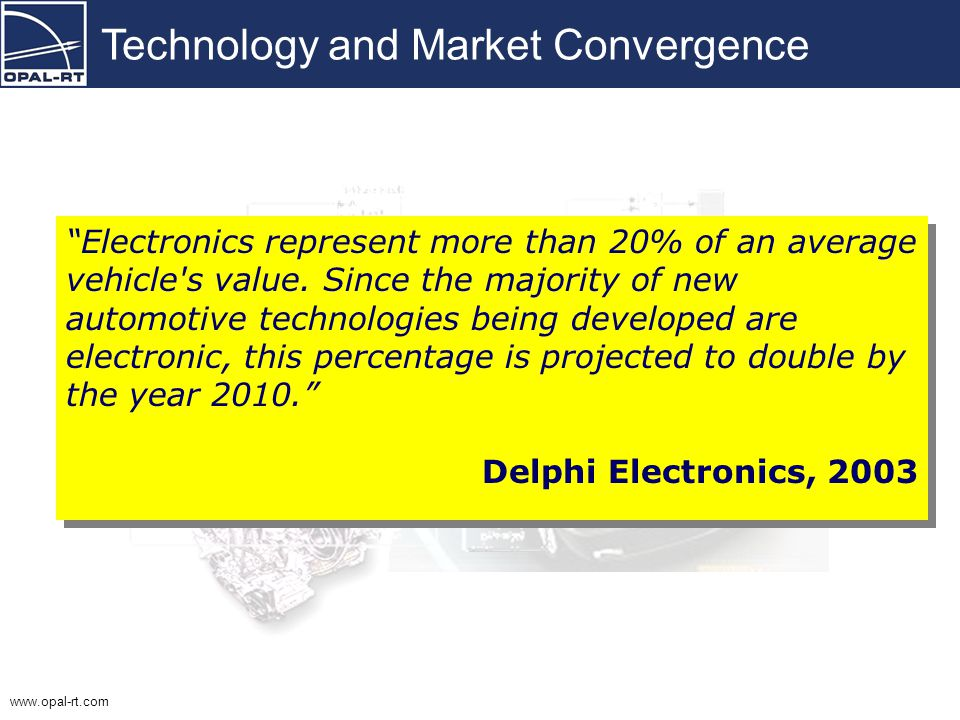 Technology Convergence in the Automotive Industry Modularization of Electro/Hydraulic/Mechanical Systems The Challenges arising from increased in-vehicle electronics Simulation, Testing and Validation Process and the Tool Chain to support it Challenges and Opportunities for the Canadian Automotive Industry Outline
