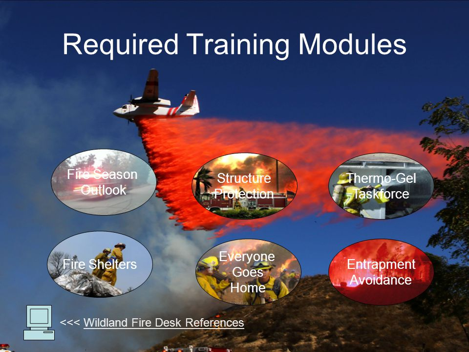 Fire Season Outlook Fire Shelters Thermo-Gel Taskforce Structure Protection Required Training Modules Entrapment Avoidance <<< Wildland Fire Desk ReferencesWildland Fire Desk References Everyone Goes Home