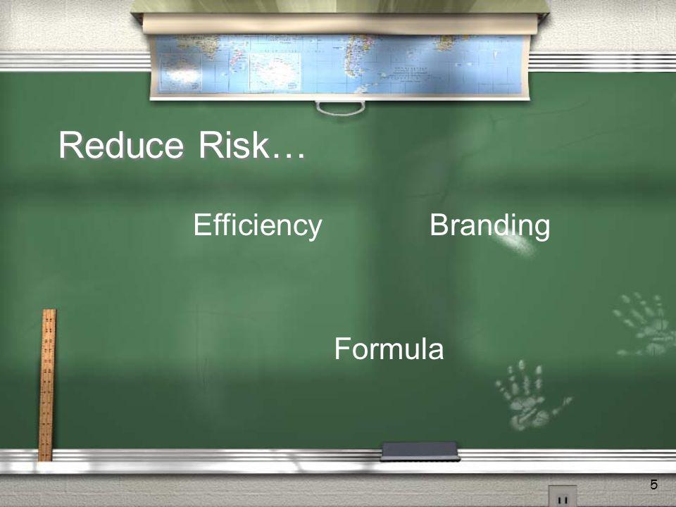 5 Reduce Risk… Efficiency Formula Branding