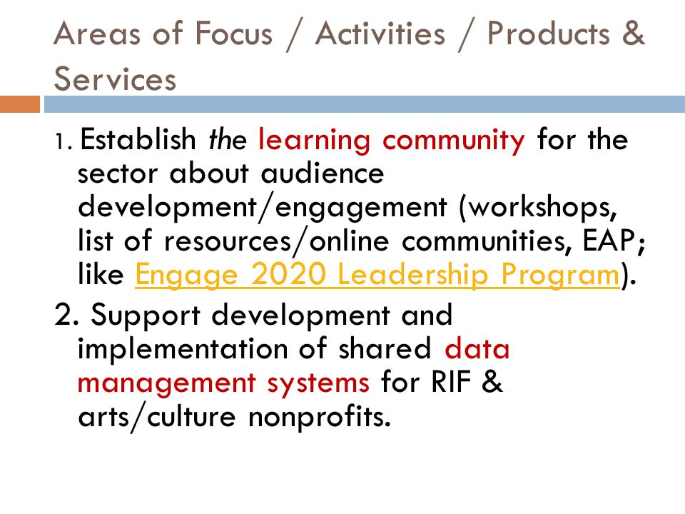 Areas of Focus / Activities / Products & Services 1.