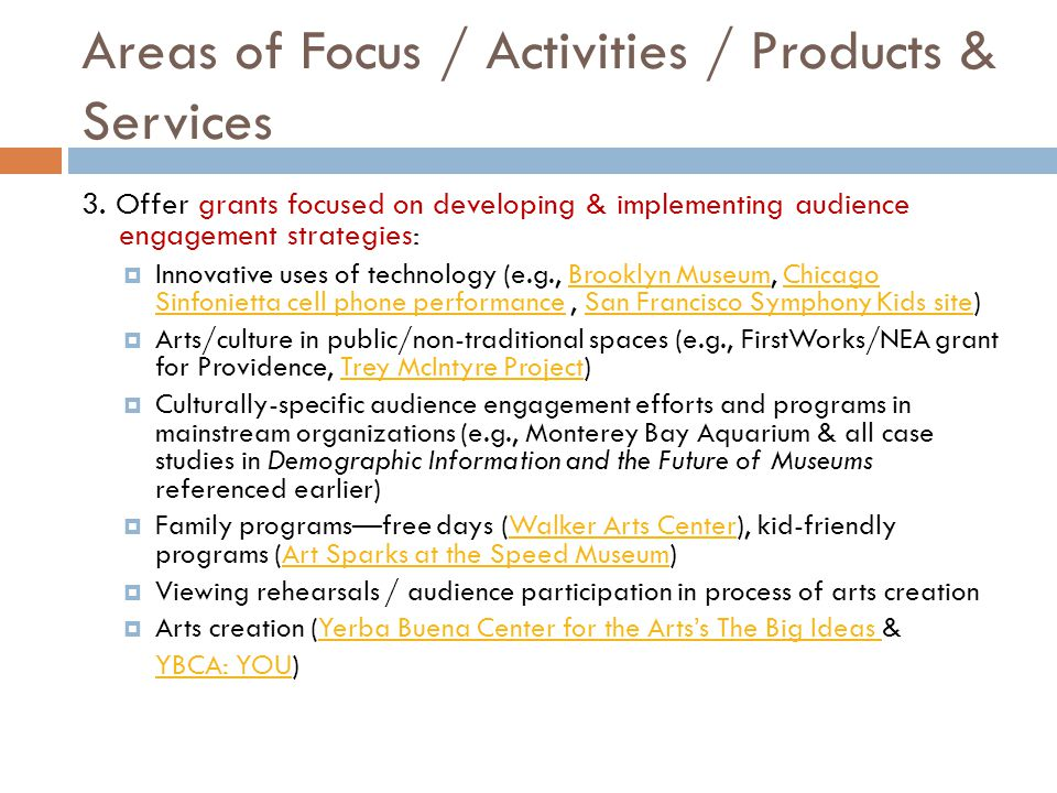 Areas of Focus / Activities / Products & Services 3.