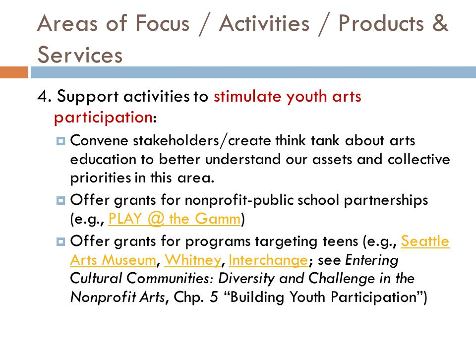 Areas of Focus / Activities / Products & Services 4.