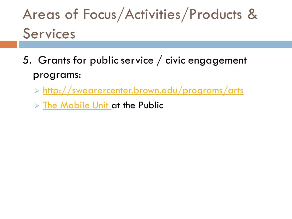 Areas of Focus/Activities/Products & Services 5.