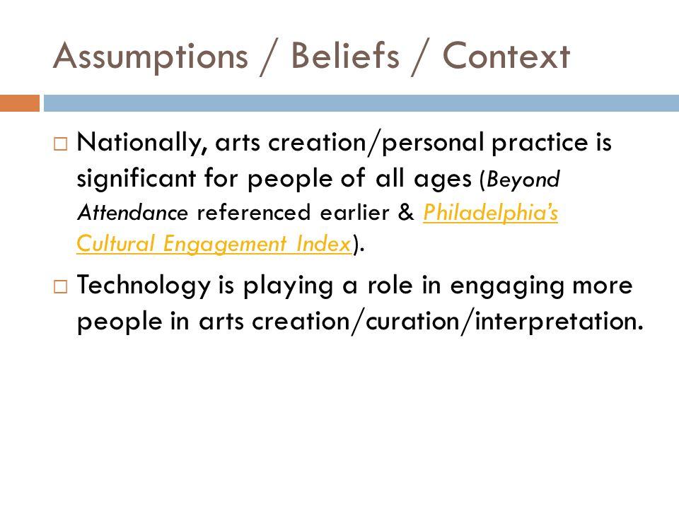 Assumptions / Beliefs / Context  Rhode Island / Providence has several vibrant after-school programs (CMW, NUA, AS220, RISD, teaching artists).