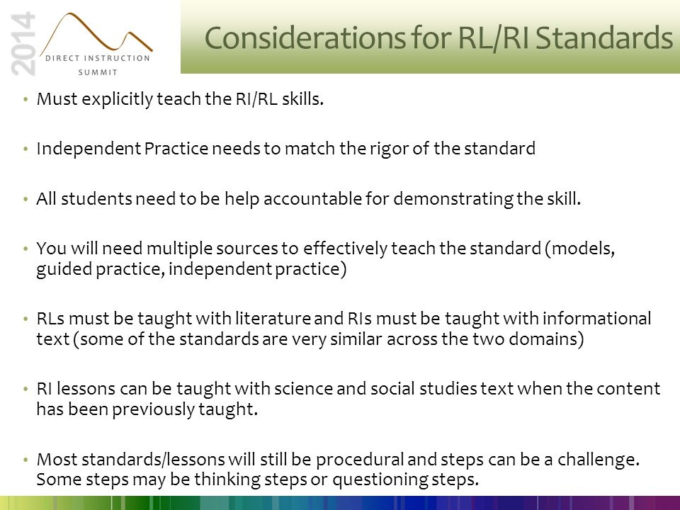 Considerations for RL/RI Standards Must explicitly teach the RI/RL skills. Independent Practice needs to match the rigor of the standard All students