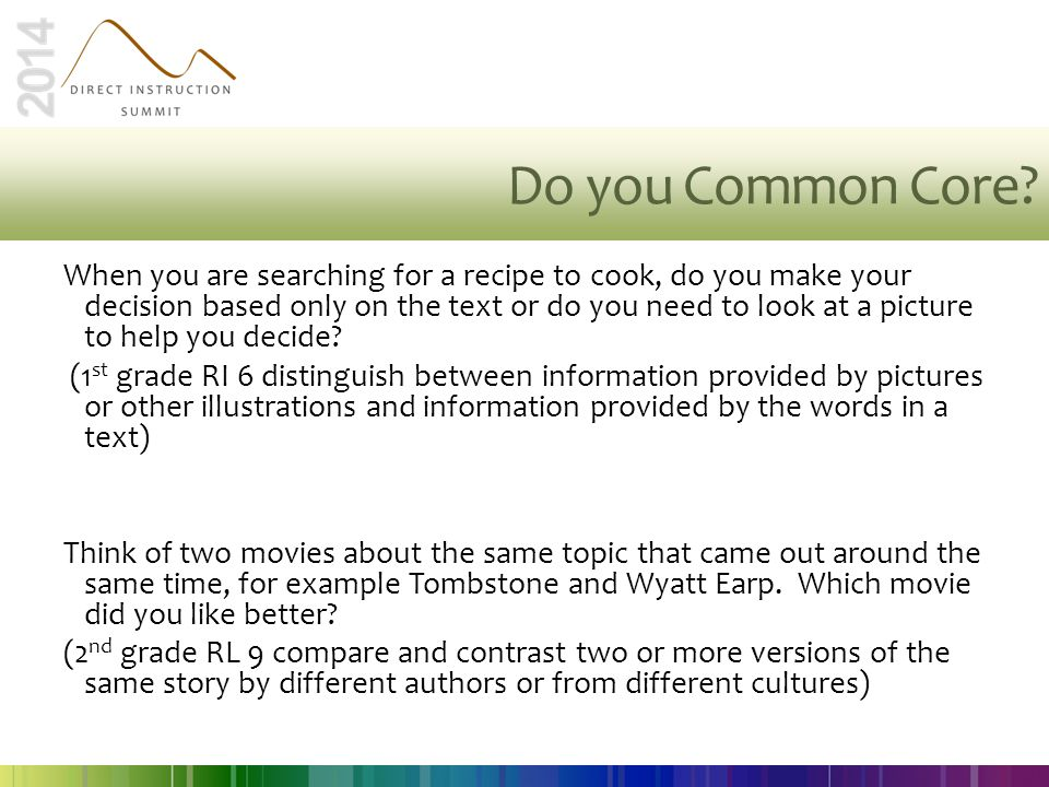 Do you Common Core? When you are searching for a recipe to cook, do you make your decision based only on the text or do you need to look at a picture